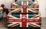 英國旗收納箱皮革長沙發椅 80x40x40cm